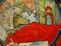 LITTLE RED RIDING HOOD WOLF LITHO TIN CUP SAUCER CHILDS TEA SET | eBay
