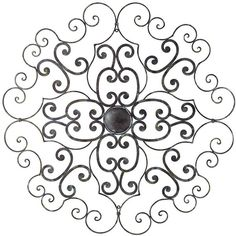 """Universal Lighting and Decor Floral Medallion 36 1/2"""" Wide Metal Wall... ($40) ❤ liked on Polyvore featuring home, home decor, wall art, black, traditional home decor, universal lighting and decor, metal wall art, traditional wall art and black wall art"""