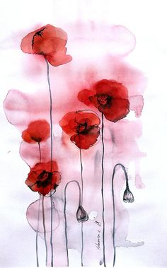 Poppies - Original watercolor painting. Floral wall art for home. Unique gift for birthday. Water color picture of red flowers. Watercolour. This original watercolor painting of red poppies is painted by me. A piece of contemporary art. Floral wall art for hotel, office or home. A