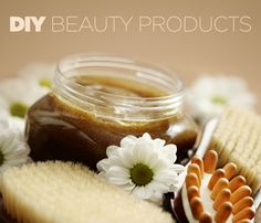 Natural #DIY Beauty Products: face scrub, face mask, hair mask, lip balm, body butter