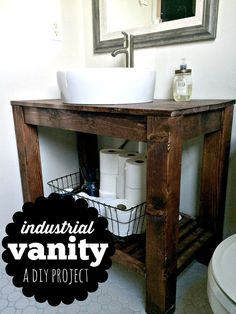 Love that industrial farmhouse look for your home? We made this simple, but stunning industrial farmhouse vanity for our bathroom. This DIY project is simple to make and customize for your space! For (Diy Bathroom) Diy Vanity, Diy Bathroom Vanity, Small Bathroom, Bathroom Ideas, Bathroom Organization, Modern Bathroom, Bathroom Cabinets, Master Bathroom, Bathroom Interior