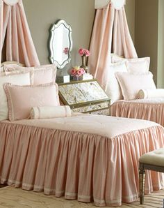 Pink Skirted bedspreads with band trim. I love this look!