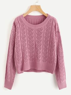 Shop Ribbed Back Hollow Out Sweater online. SheIn offers Ribbed Back Hollow Out Sweater & more to fit your fashionable needs. Sweater Outfits, Fall Outfits, Casual Outfits, Cute Outfits, Fashion Outfits, Long Pencil Skirt, Cute Sweaters, Knitwear, My Style