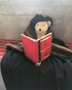Pippin trying on Thomas Cromwell's costume at Berkeley Castle Castle, Teddy Bear, Costumes, Toys, Animals, Activity Toys, Animales, Dress Up Clothes, Animaux