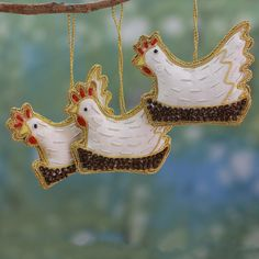 Fair Trade Beaded Ornaments (Set of 3) - Cheerful Roosters | NOVICA