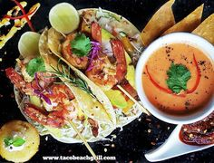 "#Bali Breaking News from @TacoBeachGrill: ""Grilled Tiger Prawn Tacos"" Grilled prawns seasoned with lime juice garlic salt and black pepper served on your choice of fresh homemade soft flour or gluten-free crispy corn tortillas with sour cream sliced avocado coriander tomato and onion on a bed of fresh sliced cabbage.  You can top any of our tacos with your choice of freshly made FREE salsas including roasted chilli salsa mango salsa pineapple-papaya salsa beng kuang salsa wild green tomato…"