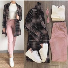 Image may contain: one or more people and shoes Image may contain: one or more people and shoes Casual Hijab Outfit, Cute Casual Outfits, Business Casual Outfits, Simple Outfits, Winter Fashion Outfits, Look Fashion, Korean Fashion, Fall Outfits, Fashion Dresses