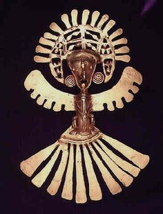 Pre-Columbian Art / Gold Pectoral of a Shaman in an Avian Costume - Origin: Cauca, Colombia Circa: 1150 AD to 1600 AD Ancient Aliens, Ancient Art, Colombian Gold, Colombian Culture, Mesoamerican, Masks Art, Ancient Jewelry, Ancient Civilizations, Animal Jewelry