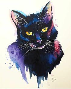 Watercolor Cat, Watercolor Paintings, Cute Animal Drawings, Art Drawings, Black Cat Art, Dibujos Cute, Unicorn Art, Beautiful Drawings, Cats And Kittens