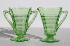 Anchor Hocking Glass Circle Green Depression Glass Cream and Sugar