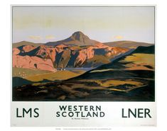 Travel poster produced for the London & North Eastern Railway (LNER) and the London, Midland & Scottish Railway (LMS), to promote rail travel to Western Scotland. The poster shows a mountainous landscape with a loch. Artwork by Norman Wilkinson Train Posters, Railway Posters, Posters Uk, Retro Posters, Famous Marines, British Travel, Nostalgia, Tourism Poster, Travel Ads