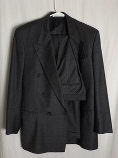 Hugo Boss Cashmere Blend Double Breast Suit Sz 38R Gray w Green/Lavender  Stripe #