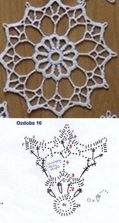Crochet Mandala + Diagram + Free Pattern Step By Step Crochet Snowflake Pattern, Crochet Motif Patterns, Crochet Stars, Crochet Circles, Crochet Snowflakes, Crochet Round, Thread Crochet, Irish Crochet, Crochet Doilies
