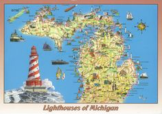 lighthouses of michigan | Michigan Lighthouses State Map Postcard | Flickr - Photo Sharing!
