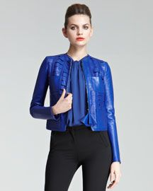 Cobalt Laser-cut Leather Coat
