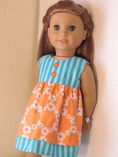 Summer Sundress for American Girl Doll (tangerine and turquoise)