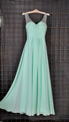 Mint Beaded Long Bridesmaid Dresses Simple Prom Dress by hour24