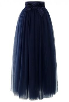 Amore Maxi Tulle Prom Skirt in Navy - Skirt - Bottoms - Retro, Indie and Unique Fashion