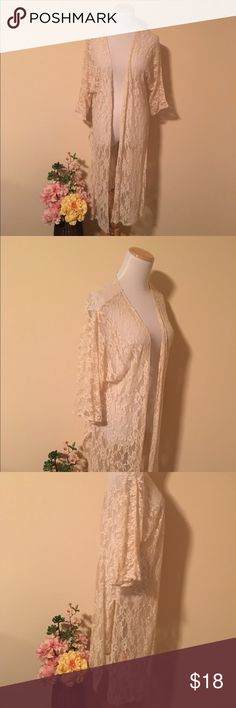Long Lace Cardigan/Cover Up George out maxi cardigan made from soft creamy Lace. This gives any outfit the perfect boho vibe or is great to wear to the beach! From Altar'd State, listing as Zara for views. Sz M, but really can fit almost anybody! Zara Swim Coverups