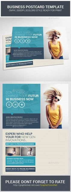 Buy Business Postcard Template by GraphicForestNet on GraphicRiver. Business Postcard Template Specification CMYK Color Mode 300 DPI Resolution Size Bleed in Each Side . Postcard Printing, Postcard Template, Postcard Design, Postcard Layout, Postcard Display, Diy Postcard, Web Design, Layout Design, Print Design