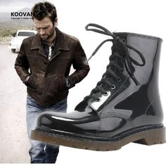 [Visit to Buy] Koovan Man Rain Boots 2017 New Fashion Men Shoes Rainboots Men Black Martin Boots Rain Shoes Large Size 39-45 #Advertisement