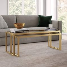 Designed to nest as a full-sized coffee table, these tables have the ability to completely separate, creating versatile pieces to use throughout the living room. The brass tone of the rectangle frame elevates the design along with the glass top. Hand crafted brass finish is applied to the steel frame. Tempered glass to Coffee Tables For Sale, Coffee Table Rectangle, Large Coffee Tables, Brass Coffee Table, Glass Top Coffee Table, Decorating Coffee Tables, Nesting Coffee Table, Gold Nesting Tables, Metal Tables