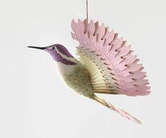 Handmade Bird Mobile Wood Carving, Costa's Hummingbird Hanging Ornament, Hobby Artwork Fan Bird, 5th Anniversary Gift, Carved Wooden Bird