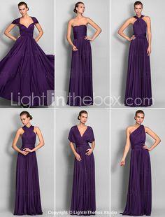 Bridesmaid Dress Floor Length Jersey Sheath Column Convertible Dress -  Sexy and practical.