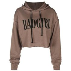Graphic Drawstring Crop Pullover Hoodie (68 RON) ❤ liked on Polyvore featuring tops, hoodies, brown crop top, cropped hoodie, graphic hoodies, cropped hoodies and graphic crop tops