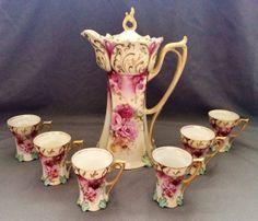 RS Prussia Footed Chocolate Tea Set. Limoges-like romantic roses print, so elegant <3