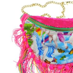 Beksies Bumbags #uk -  DOLLY unicorn pink neon sequin bumbag fannypack. Rainbow pompom fringe, chain belt.