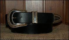 Cinturones de cuero. Hebilla de 3 piezas ribeteadas bañadas en oro y plata, en un cinturón de cuero de 4cm de ancho | Decuero Leather