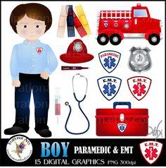 BOY Paramedic & EMT 15 digital graphics clip art by IrrationalArts, $4.95