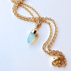 Light Blue Bullet Pendant Necklace with Chalcedony Gemstone and Gold Filled Cap. Real pretty and elegant for a Wedding or Birthday gift.