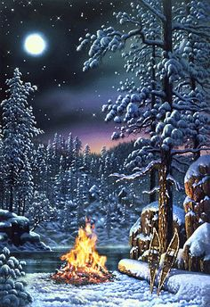 On the night of a full moon the northern lights are peaking out of the trees over a camp fire on a wonderful winter night in Kim Norlien& Fire and Ice. Winter Szenen, Winter Magic, Winter Night, Winter Time, Christmas Scenes, Christmas Art, Winter Christmas, Winter Wonderland, Gif Noel