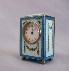 Sub-miniature carriage clock with hand painted guilloche enamel. - Gavin Douglas Antiques