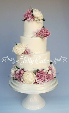 Country Garden Blooms Wedding Cake by JellyCake (3/24/2013) View details here: http://cakesdecor.com/cakes/54842