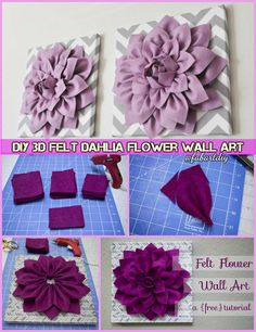DIY 3D felt Dahlia flower Wall Art Tutorial