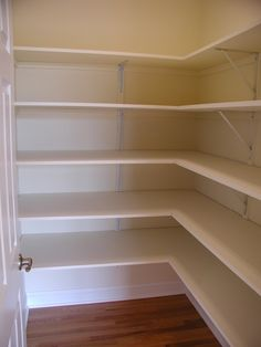 Great Walk-in Pantry Enables You to Supply Foods As Many As Possible : Amazing White Melamine Walk In Pantry Shelving Wooden Floor And White Door