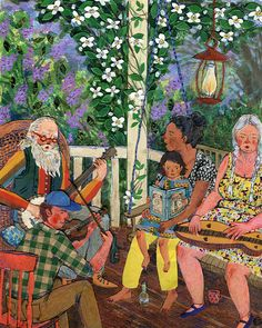 Spring Singers. Watercolor, collage, colored pencil. Phoebe Wahl 2014.