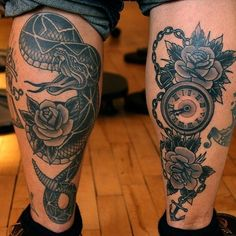 Snake and Time with Roses Tattoos