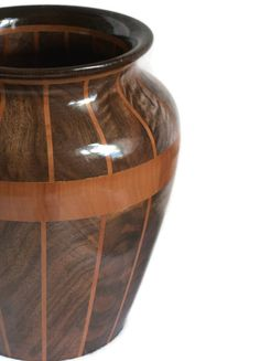 Storm Front Segmented Wood Vase Featuring Oregon Black Walnut, Pear Wood & Wenge…