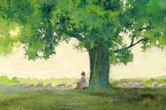 painting of jesus christ leaning against a tree watching a flock of sheep Images Of Christ, Pictures Of Christ, Church Pictures, Temple Pictures, Lds Pictures, Paintings Of Christ, Jesus Christ Painting, Jesus Art, Christ The Good Shepherd