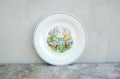 Vintage German dinner children Easter plate with painting - kitchen decor retro cottage plate - chilren houseware - retro plate - retro home