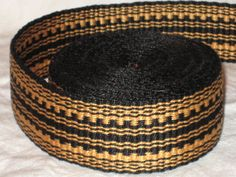 Black and gold hand-woven inkle trim (over 14 feet)