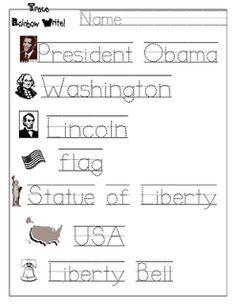 President's Day Handwriting - FREE Printable