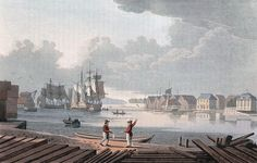 "Harbour of Christiania (JW Edy plate 50). English: ""Harbour of Christiania"" Norsk bokmål: «Christiania Havn» Drawing by John William Edy (1760-1820) from his journey along the coast of Norway during the summer of 1800. Published in Boydell's picturesque scenery of Norway in 1820."