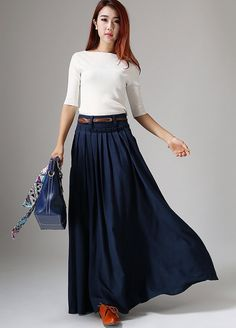 Maxi falda falda larga falda azul marina falda azul por xiaolizi