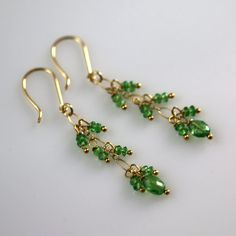 18k Solid Gold Tsavorite Earrings by JillMcCrystalJewelry on Etsy