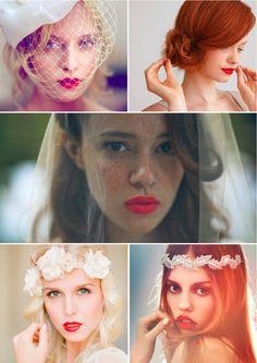 Best Vintage Wedding Makeup For Fair Skin Red Lipsticks Ideas - Wedding Makeup For Fair Skin Fair Skin Makeup, Red Lip Makeup, Hair Makeup, Makeup Tips, Wedding Hair And Makeup, Bridal Hair, Wedding Lipstick, Vintage Bridal, Vintage Weddings
